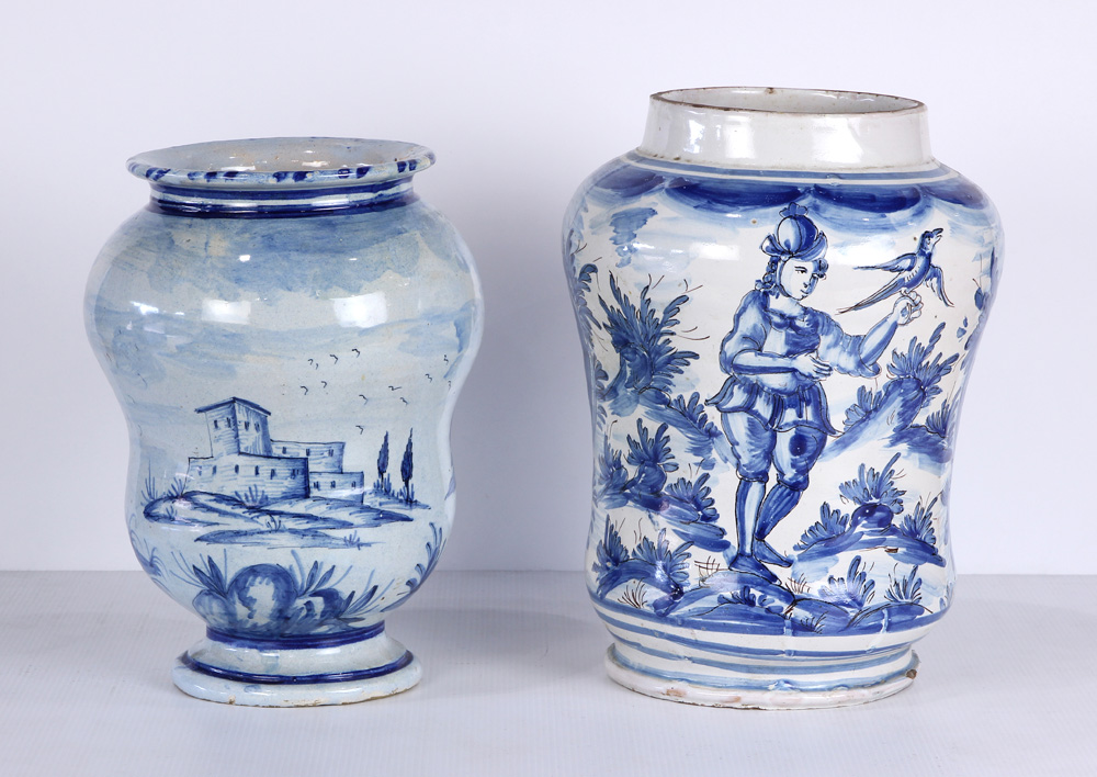 Lot 4612 - (lot of 2) Continental Delftware blue and white vases