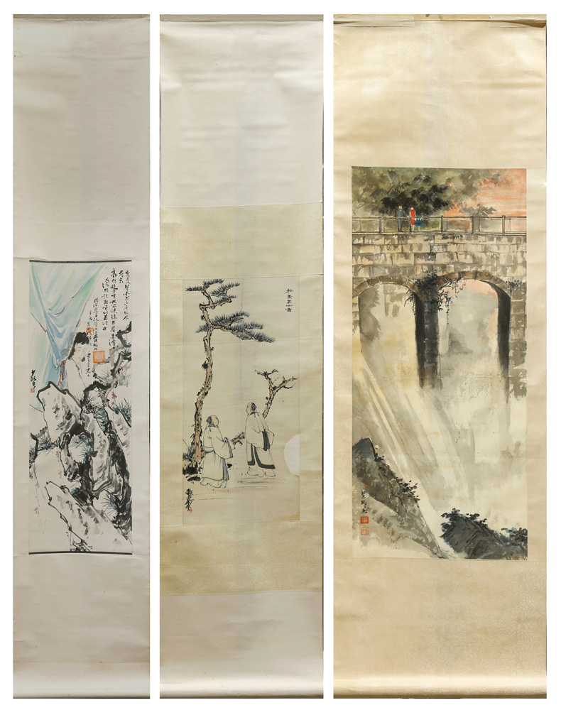 Lot 4110 - (lots of 3) Chinese Hanging Scrolls, Ink and Color On Paper