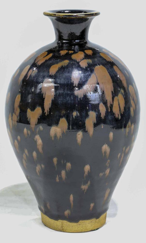 Lot 8048 - Chinese Russet-Splashed Black-Glazed Vase