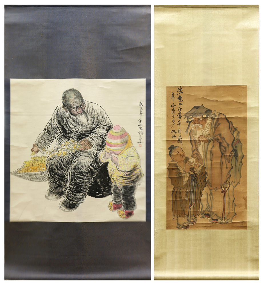 Lot 4108 - (lot of 2) Two Chinese Hanging Scrolls, Ink and Color on Paper