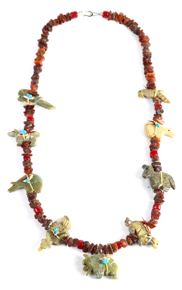 Lot 4506 - Native American multi-stone fetish, metal necklace
