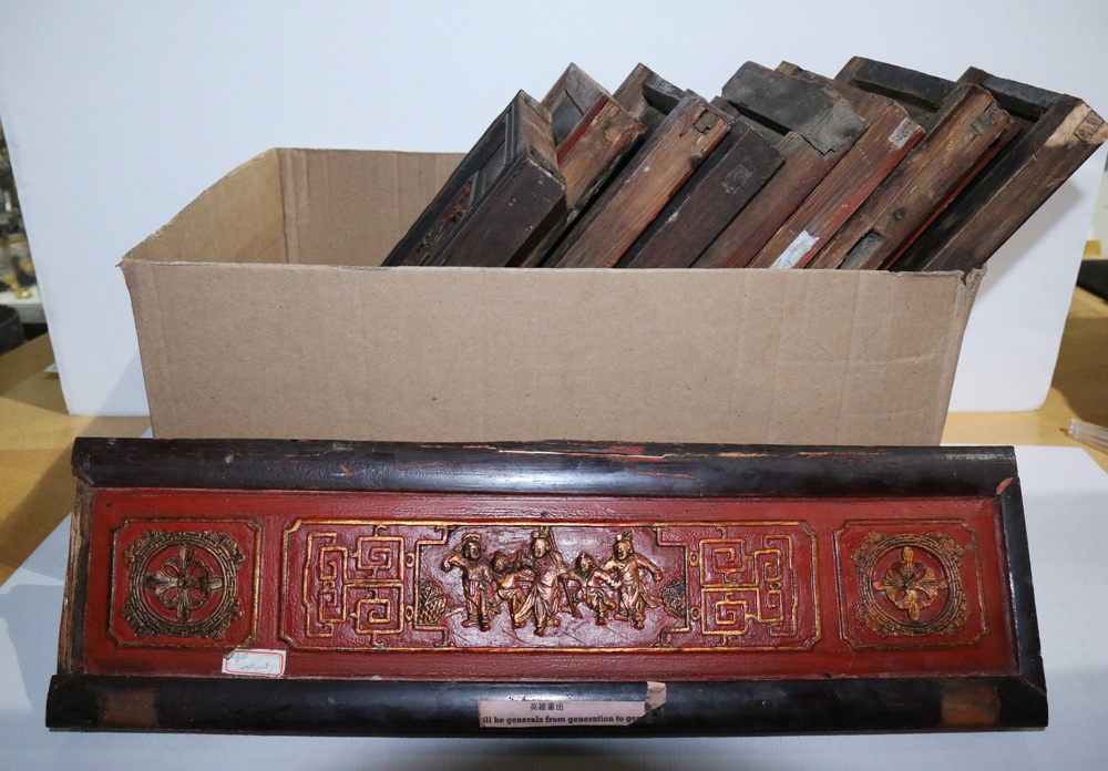 Lot 4059 - (lot of 10) Chinese Lacquered Architectural Pieces