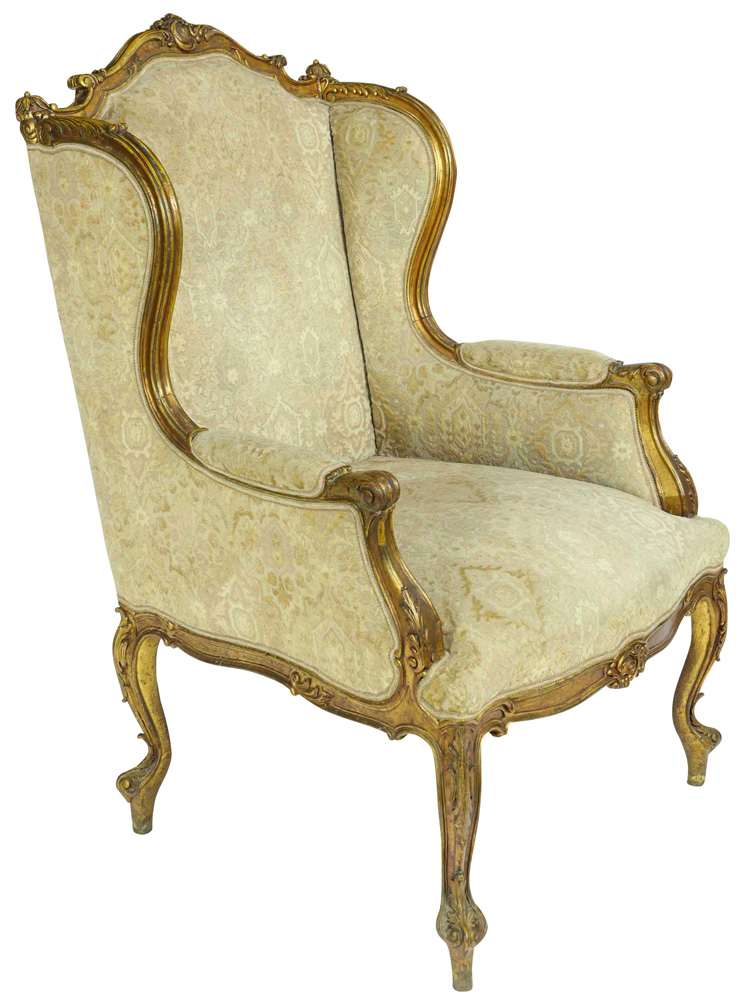 Lot 6313 - Louis XVI style giltwood carved bergere