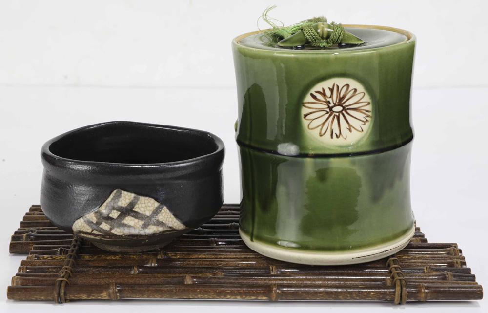 Lot 8009 - Japanese Oribe Mizusashi, Tea Bowl, Bamboo Base