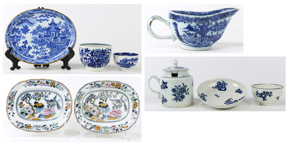 Lot 4627A - (lot of 9) Early English porcelain group, 18th/19th Century