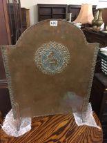 Lot 683 - A Hugh Wallis arts & crafts copper fire screen 29.375in high x 23in wide