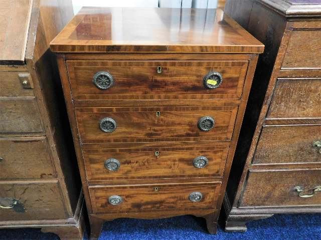 Lot 2 - A small flame mahogany chest of drawers 31in high