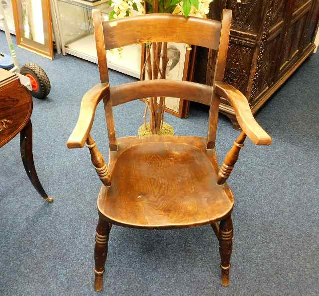 Lot 34 - A 19thC. beech & elm armchair