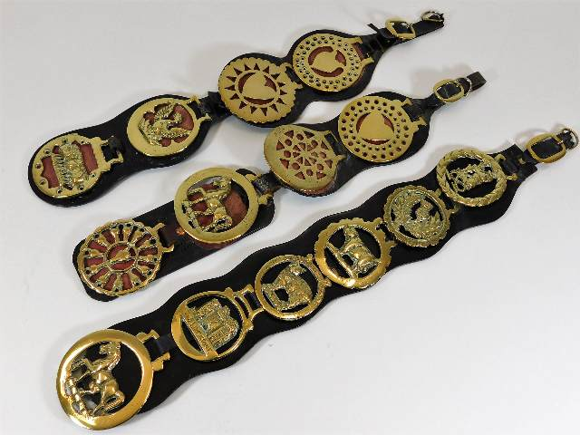 Lot 107 - Three vintage horse brass straps