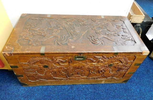 Lot 45 - A brass bound Chinese chest