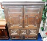 Lot 39 - A c.1650 English oak court cupboard with drawers u