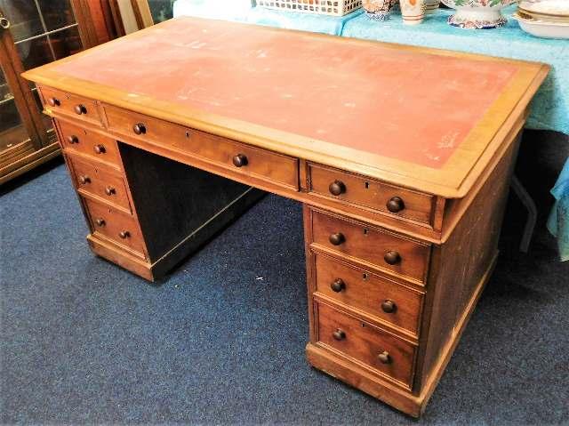 Lot 70 - A Victorian mahogany pedestal desk 52.5in wide