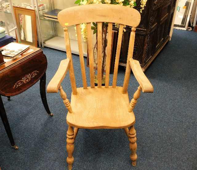 Lot 35 - A large 19thC. slat back beech & elm armchair