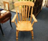 Lot 35 - A large 19thC. slat back beech & elm armchair