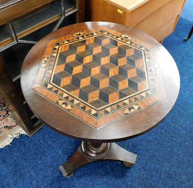 Lot 56 - A 19thC. inlaid pedestal table