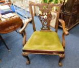 Lot 32 - A mahogany Chippendale style chair