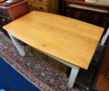 Lot 59 - A Peter Bromfield oak topped farmhouse kitchen table with painted legs 59.25in long x 36in wide