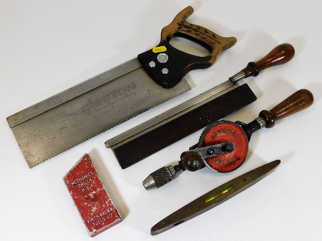 Lot 120 - A Stanley hand operated drill, a Disston saw & oth