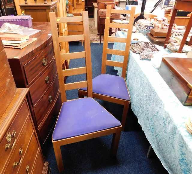 Lot 15 - A pair of oak Peter Blomfield Mackintosh style lad