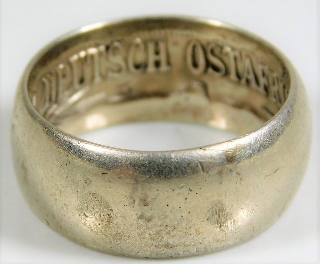 Lot 732 - A German white metal trench art ring 6.8g