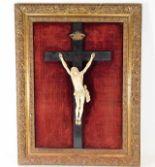Lot 227 - A gilt framed 18thC. European carved ivory figure