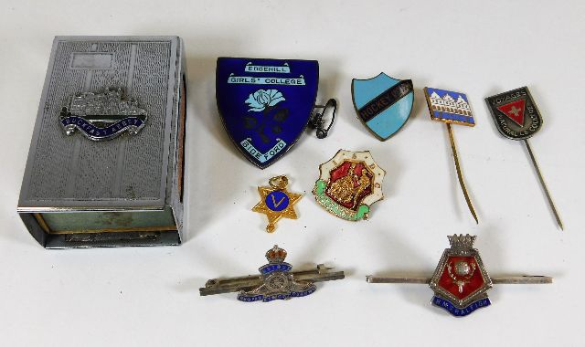 Lot 777 - Two military sweetheart badges & other items