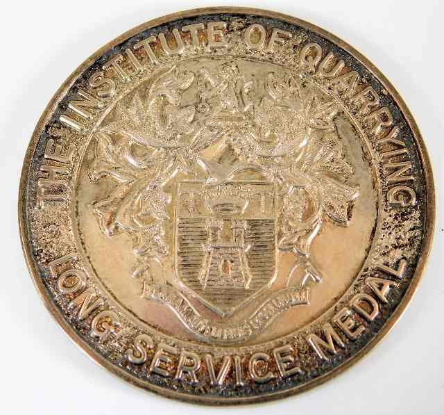 Lot 768 - A silver Institute of Quarrying Long Service Medal