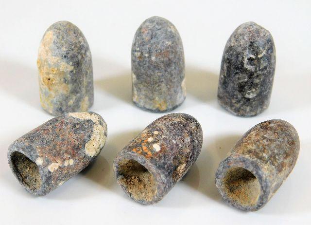 Lot 105 - Six lead civil war bullets