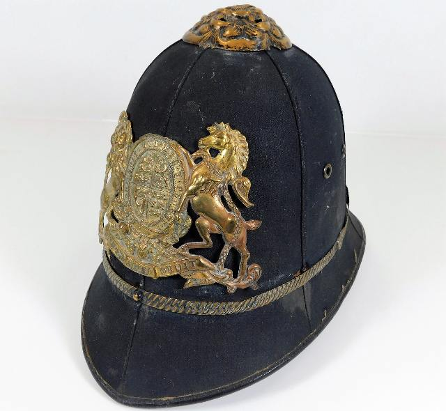 Lot 111 - A Victorian police style helmet with motto Dieu Et
