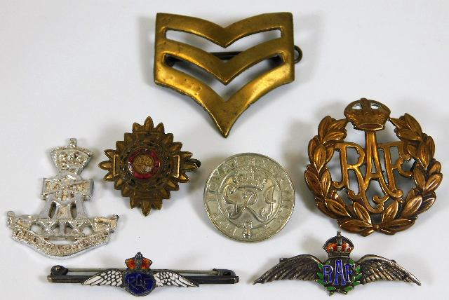 Lot 103 - Two RAF sweetheart badges twinned with other milit