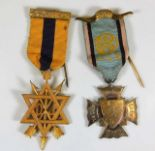 Lot 784 - A silver Masonic badge & one other