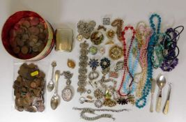 Quantity of costume jewellery including two silver