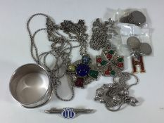 A small quantity of sixpences, a small quantity of costume jewellery including a white metal bracele