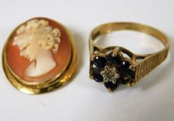 A 9ct gold ring twinned with 18ct cameo brooch a/f
