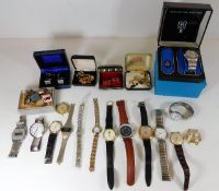 Quantity of watches and cufflinks including boxed
