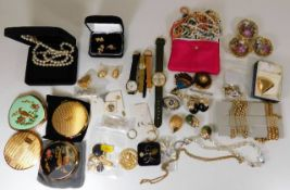 Quantity of costume jewellery including four compa
