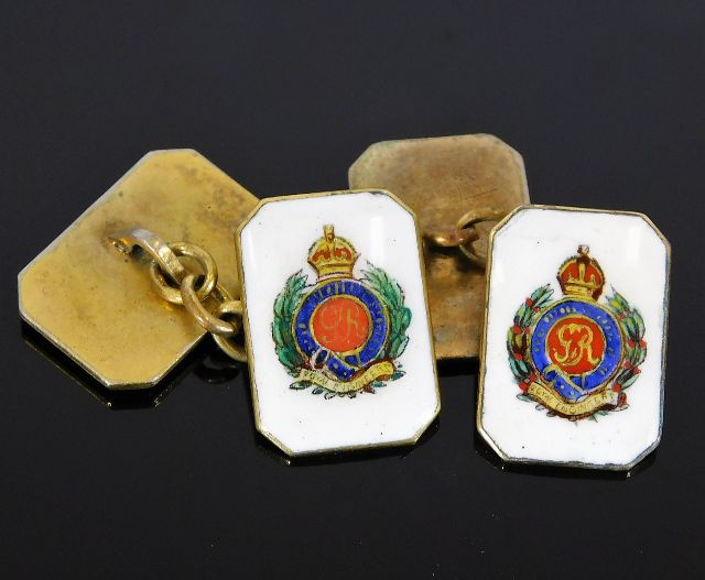 Lot 300 - A pair of brass Royal Engineers cufflinks