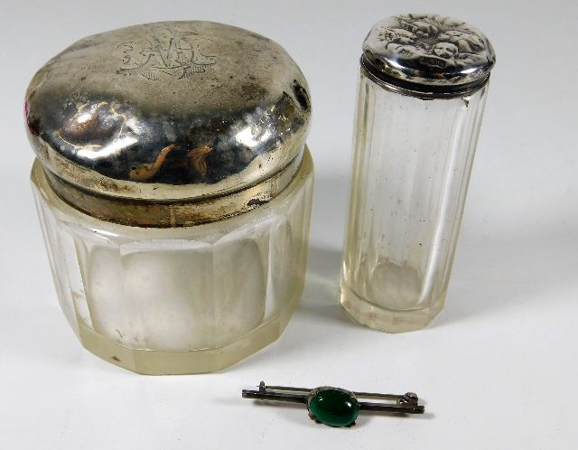 Lot 281 - Two silver topped jars (52.1g silver weight) & a s