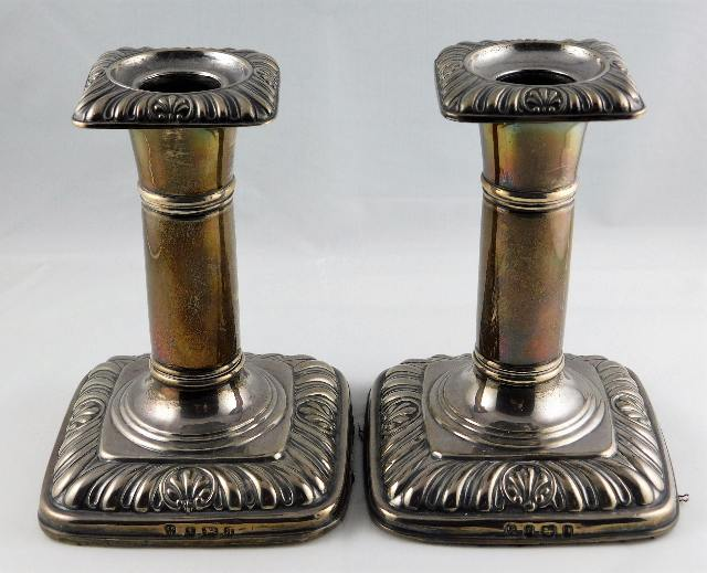 Lot 266 - A pair of silver candlesticks I. S. Greenberg & Co