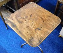 A 19thC. elm table top with later added pedestal l