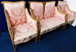 A Regency period French four piece suite with inlaid decor 36.5in high. Provenance: Formerly the pro