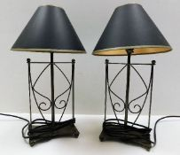A pair of decorative modern metal framed table lam