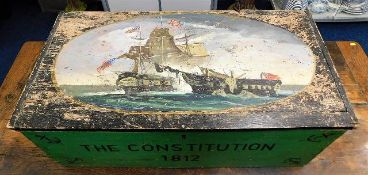 A c.1900 American folk art painted trunk depicting