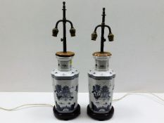 Two Chinese porcelain table lamps with brass fitti
