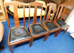 Four high back mahogany dining chairs, faults to s