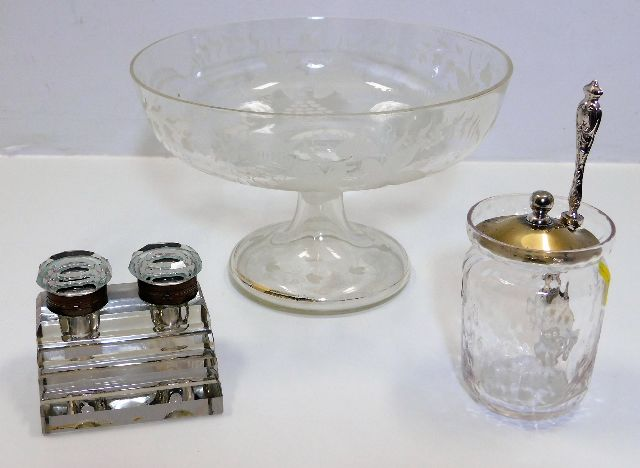 Lot 218 - An Edwardian glass footed fruit dish twinned with