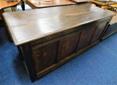 A large 18thC. oak coffer with candle box 65in wid