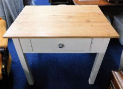 A scrub top pine cottage style table with drawer 3