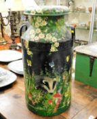 A barge ware style painted milk churn depicting fl