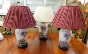 Three Brights of Nettlebed porcelain table lamps w